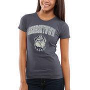 Women's New Agenda Heathered Navy Georgetown Hoyas Big Arch & Logo Ring Spun T-Shirt