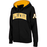 Women's Stadium Athletic Black Appalachian State Mountaineers Arched Name Full-Zip Hoodie