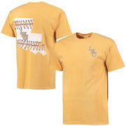 Men's Gold LSU Tigers Baseball Laces State Comfort Colors T-Shirt