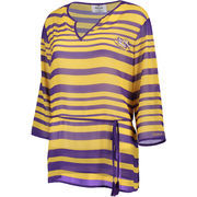 Women's Purple LSU Tigers Sheer Stripe Tie Tunic