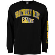 Men's New Agenda Black Southern Miss Golden Eagles Distressed Arch & Logo Long Sleeve T-Shirt