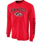 Men's New Agenda Cherry New Mexico Lobos Distressed Arch & Logo Long Sleeve T-Shirt