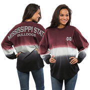 Women's Maroon Mississippi State Bulldogs Ombre Long Sleeve Dip-Dyed Spirit Jersey