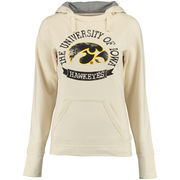 Women's New Agenda Cream Iowa Hawkeyes Arched Dorm Room Gauge Hoodie