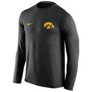 Men's Nike Heather Black Iowa Hawkeyes Dri-FIT Touch Performance Long Sleeve T-Shirt