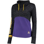 Women's Colosseum Black/Purple East Carolina Pirates Scaled Cowl Neck Pullover Hoodie