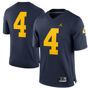 Men's Brand Jordan #4 Navy Michigan Wolverines Limited Football Jersey