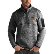 Men's Antigua Heathered Black Oklahoma State Cowboys Fortune 1/2-Zip Pullover Sweater