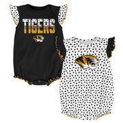 Newborn & Infant Girls Black Missouri Tigers Polka Dot 2-Pack Bodysuit Set