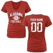 Women's Crimson Alabama Crimson Tide Personalized Distressed Football Tri-Blend V-Neck T-Shirt