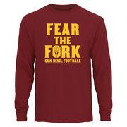 Men's Maroon Arizona State Sun Devils Fear The Fork Long Sleeve T-Shirt
