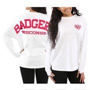 Women's Wisconsin Badgers White Sweeper Long Sleeve Oversized Top