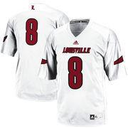 Men's adidas #8 White Louisville Cardinals Replica Football Jersey