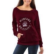 Women's Montana Grizzlies Burgundy Roundhouse Too Junior Vintage Boatneck Sweatshirt