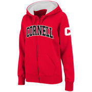 Women's Stadium Athletic Red Cornell Big Red Arched Name Full-Zip Hoodie
