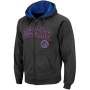 Men's Stadium Athletic Charcoal Boise State Broncos Arch & Logo Full Zip Hoodie
