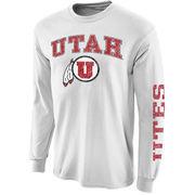 Men's New Agenda White Utah Utes Distressed Arch & Logo Long Sleeve T-Shirt