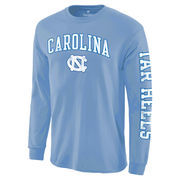 Men's Fanatics Branded Light Blue North Carolina Tar Heels Distressed Arch Over Logo Long Sleeve Hit T-Shirt