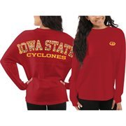 Women's Iowa State Cyclones Red Aztec Sweeper Long Sleeve Oversized Top