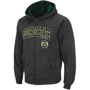 Men's Stadium Athletic Charcoal Colorado State Rams Arch & Logo Full Zip Hoodie