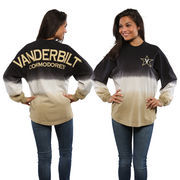 Women's Black Vanderbilt Commodores Ombre Long Sleeve Dip-Dyed Spirit Jersey