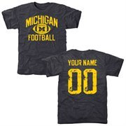 Men's Navy Michigan Wolverines Personalized Distressed Football Tri-Blend T-Shirt