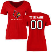 Women's Red Louisville Cardinals Personalized Football Slim Fit T-Shirt