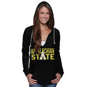 Appalachian State Mountaineers Women's Burnout Fleece Pullover Hoodie - Black
