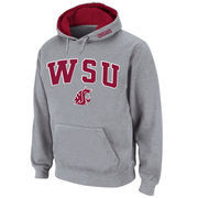 Men's Stadium Athletic Gray Washington State Cougars Arch & Logo Pullover Hoodie