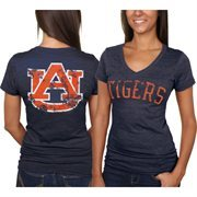 Auburn Tigers Women's Slab Serif Tri-Blend V-Neck T-Shirt - Navy Blue