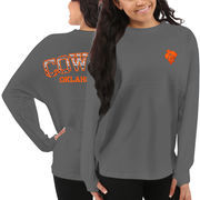 Women's Oklahoma State Cowboys Gray Aztec Sweeper Long Sleeve Oversized Top