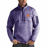 Men's Antigua Heathered Purple Clemson Tigers Fortune 1/2-Zip Pullover Sweater