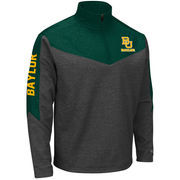 Men's Colosseum Charcoal/Green Baylor Bears Top Gun Quarter-Zip Pullover Jacket