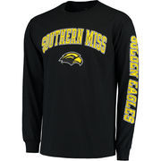 Men's Fanatics Branded Black Southern Miss Golden Eagles Distressed Arch Over Logo Long Sleeve Hit T-Shirt