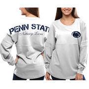 Women's Penn State Nittany Lions White Pom Pom Jersey Oversized Long Sleeve T-Shirt