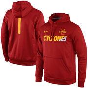 Men's Nike Crimson Iowa State Cyclones Sideline KO Fleece Therma-FIT Performance Hoodie