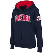 Women's Stadium Athletic Navy Arizona Wildcats Arched Name Full-Zip Hoodie