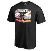 Men's Fanatics Branded Black Nebraska Cornhuskers vs. Tennessee Volunteers 2016 Music City Bowl Motion Matchup T-Shirt