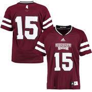 Men's adidas #15 Maroon Mississippi State Bulldogs Replica Football Jersey