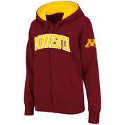 Women's Stadium Athletic Maroon Minnesota Golden Gophers Arched Name Full-Zip Hoodie