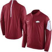 Men's Nike Cardinal Arkansas Razorbacks 2015 Football Coaches Sideline Half-Zip Wind Jacket