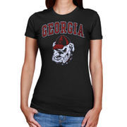 Women's New Agenda Heathered Black Georgia Bulldogs Big Arch & Logo Ring Spun T-Shirt