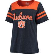 Women's Navy Auburn Tigers Plus Size Sleeve Stripe Football T-Shirt