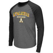 Men's Colosseum Heathered Gray Appalachian State Mountaineers Olympus Raglan Long Sleeve T-Shirt