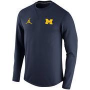 Men's Brand Jordan Navy Michigan Wolverines Modern Crew Neck Sweatshirt