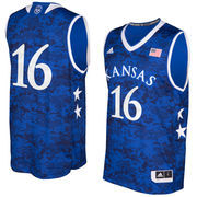 Men's adidas Royal Kansas Jayhawks 2016 Armed Forces Classic Replica Basketball Jersey