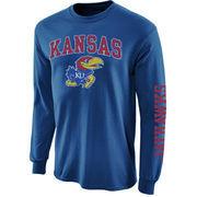 Mens Kansas Jayhawks Royal Blue Arch & Logo Long Sleeve T-Shirt