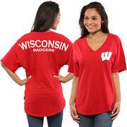 Women's Red Wisconsin Badgers Spirit Jersey Oversized T-Shirt