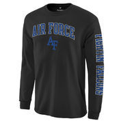 Men's Black Air Force Falcons Distressed Arch Over Logo Long Sleeve Hit T-Shirt
