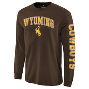 Men's Brown Wyoming Cowboys Distressed Arch Over Logo Long Sleeve Hit T-Shirt